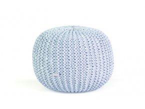 Pletený puf střední světle modrá batika