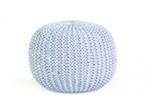 Pletený puf velký světle modrá batika