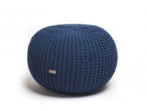 Pletený puf velký tmavě modrý
