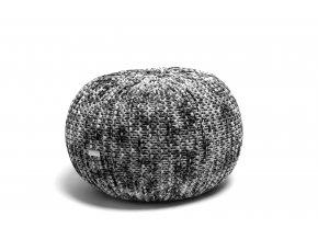 Pletený puf střední černo-bílý melír