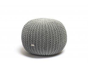 Pletený puf malý šedý melír