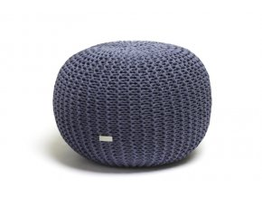 Pletený puf velký modrý džínovofialový