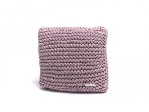 Pletený polštář 40x40 cm pudrový lila