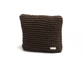 Pletený polštář 40x40 cm hnědý kávový