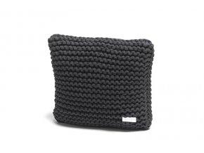 Pletený polštář 40x40 cm šedý temný