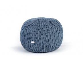 Pletený puf malý modrý džínový světlý