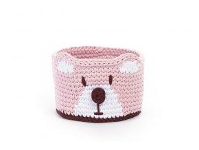 Dětský košík medvěd růžový