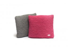 Pletený polštář 40x40 cm růžový