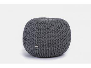 Pletený puf malý tmavě šedý melír