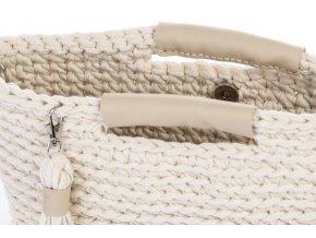 Háčkovaná kabelka Amelie smetanová s koženými uchy