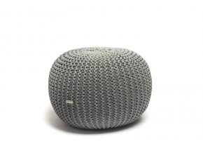 Pletený puf malý středně šedé melé