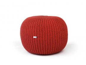Pletený puf střední červený