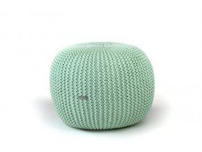 Pletený puf malý zelený pistáciový