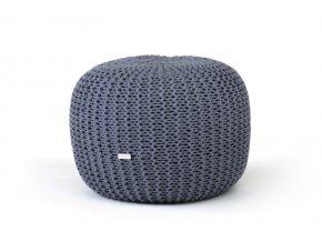 Pletený puf střední šedý