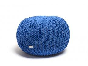 Pletený puf velký modrý královský