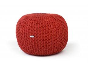 Pletený puf velký červený