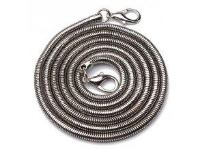 Řetízkový popruh na kabelku had stříbrný