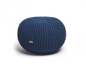 Pletený puf střední tmavě modrý