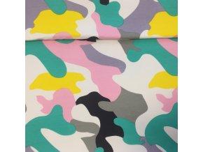 Teplákovina se vzorem barevné khaki nepočesaná