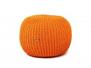 Pletený puf střední oranžový pomerančový