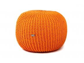 Pletený puf velký oranžový pomerančový