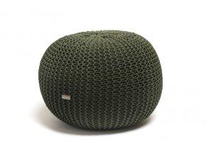 Pletený puf velký tmavě zelený s černým puntíkem