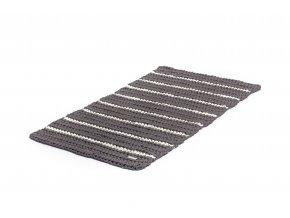 Háčkovaný koberec šedohnědý se smetanovým proužkem 60x100 cm