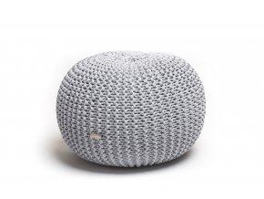 Pletený puf střední melír světle šedá