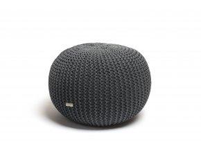 Pletený puf malý šedý ocelový