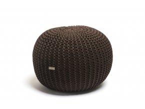 Pletený puf střední hnědý kávový