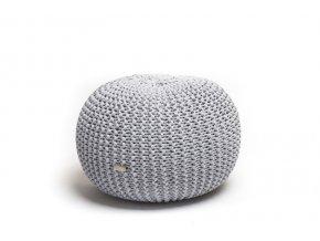 Pletený puf malý melír světle šedá