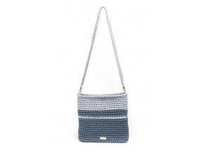 Háčkovaná crossbody kabelka Viktorie šedomodrá se světle šedou