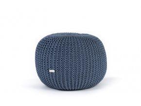 Pletený puf malý modrý džínový