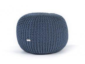 Pletený puf velký modrý džínový