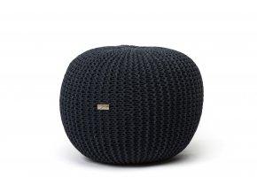Pletený puf střední černý antracit