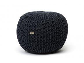 Pletený puf velký černý antracit