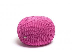 Pletený puf malý růžovofialový