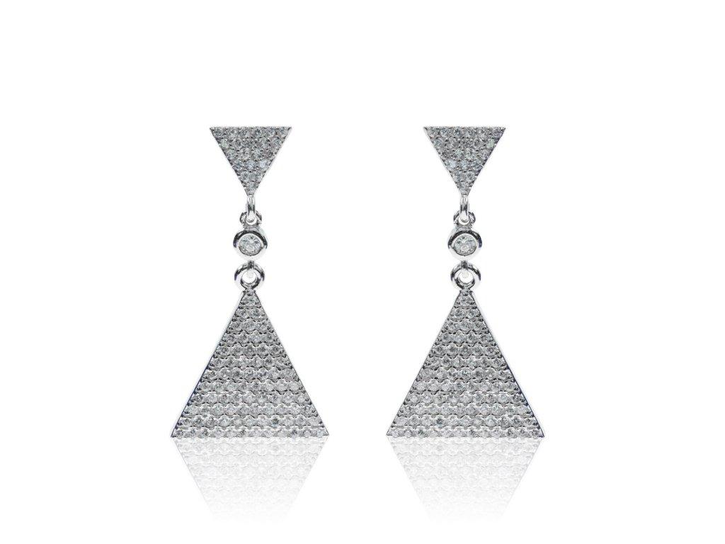 Stříbrné visací náušnice s trojúhelníkem a zirkony - Meucci SE019