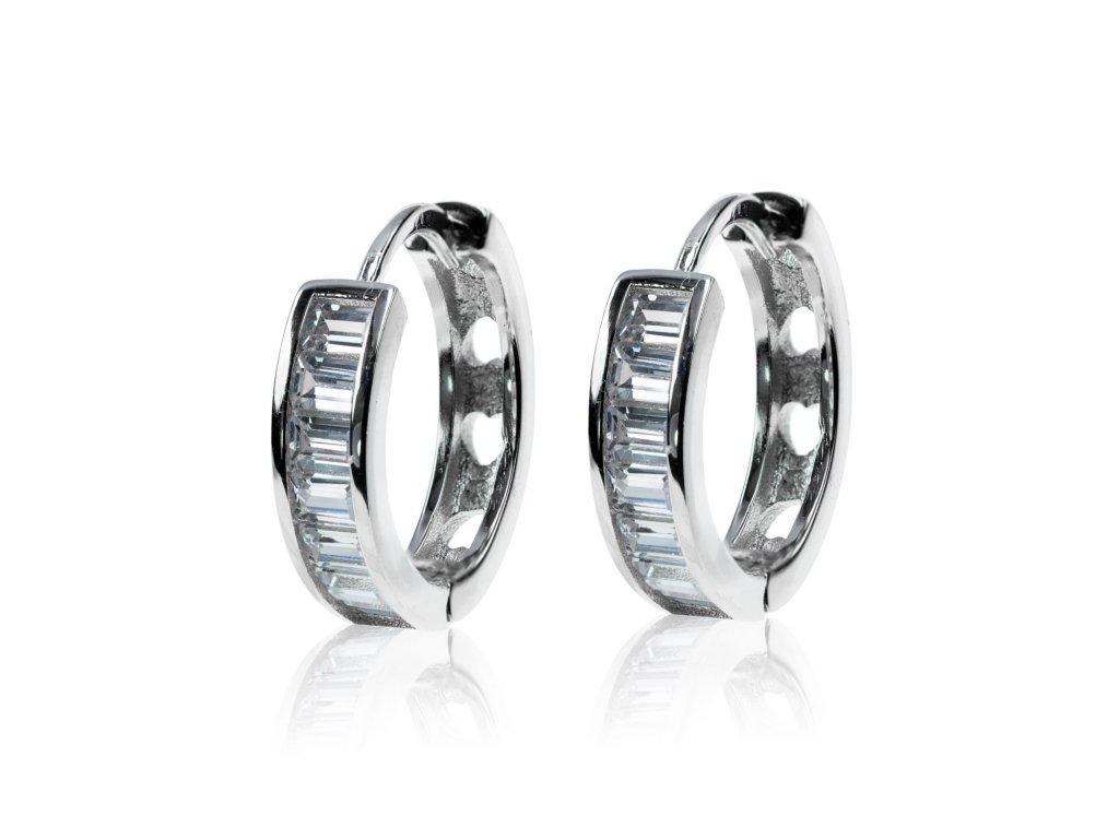Stříbrné náušnice kroužky s obdélníkovými zirkony - Meucci SE034