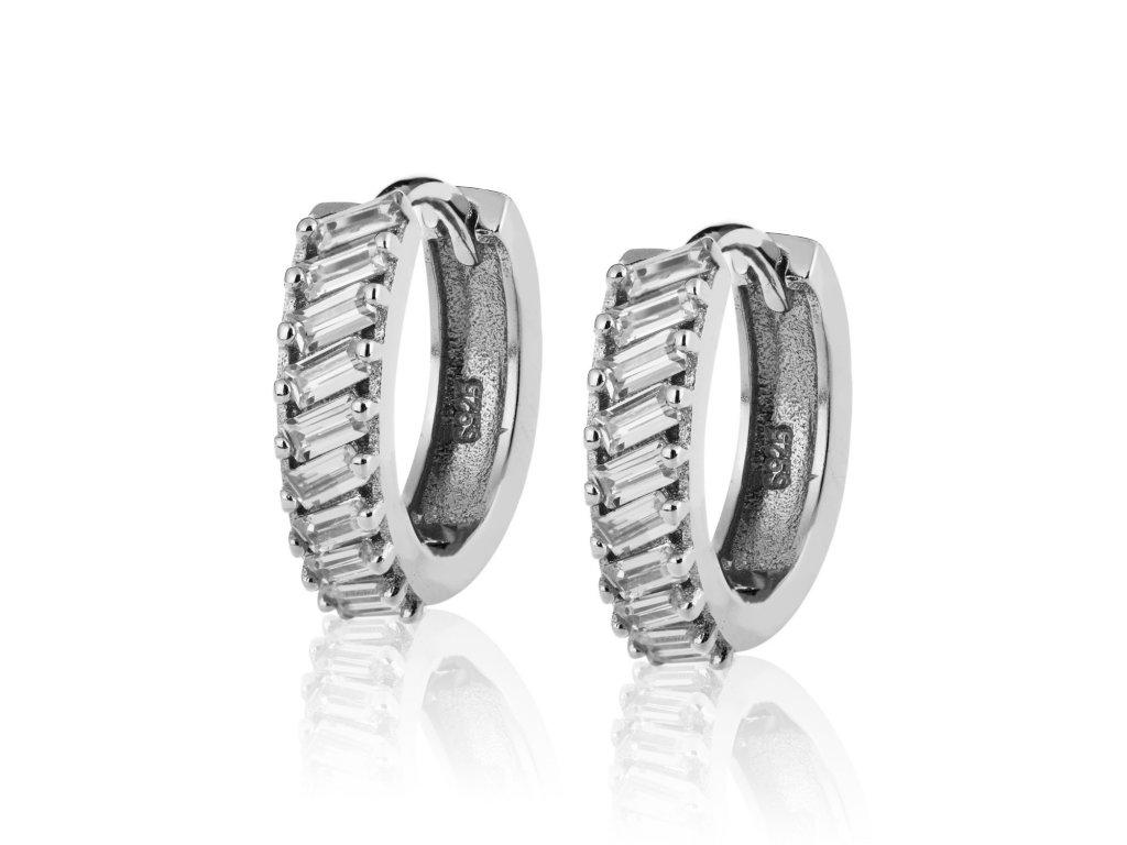 Stříbrné náušnice kroužky s obdélníkovými zirkony - Meucci SE046