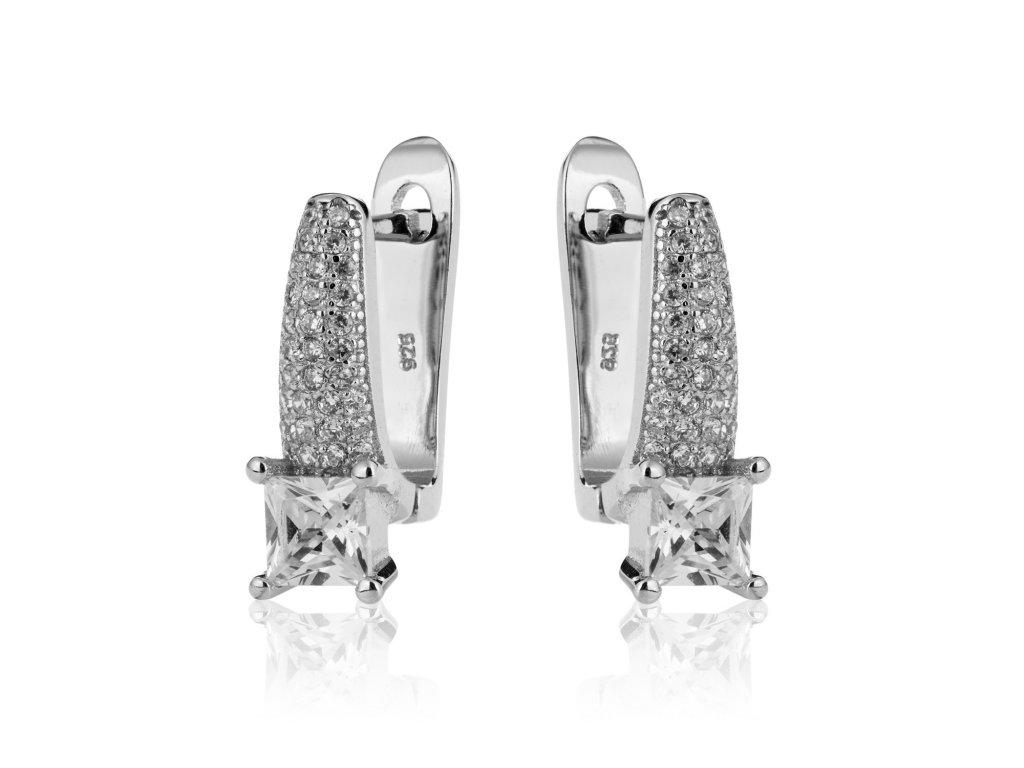 Elegantní stříbrné náušnice se zirkony - Meucci SE056