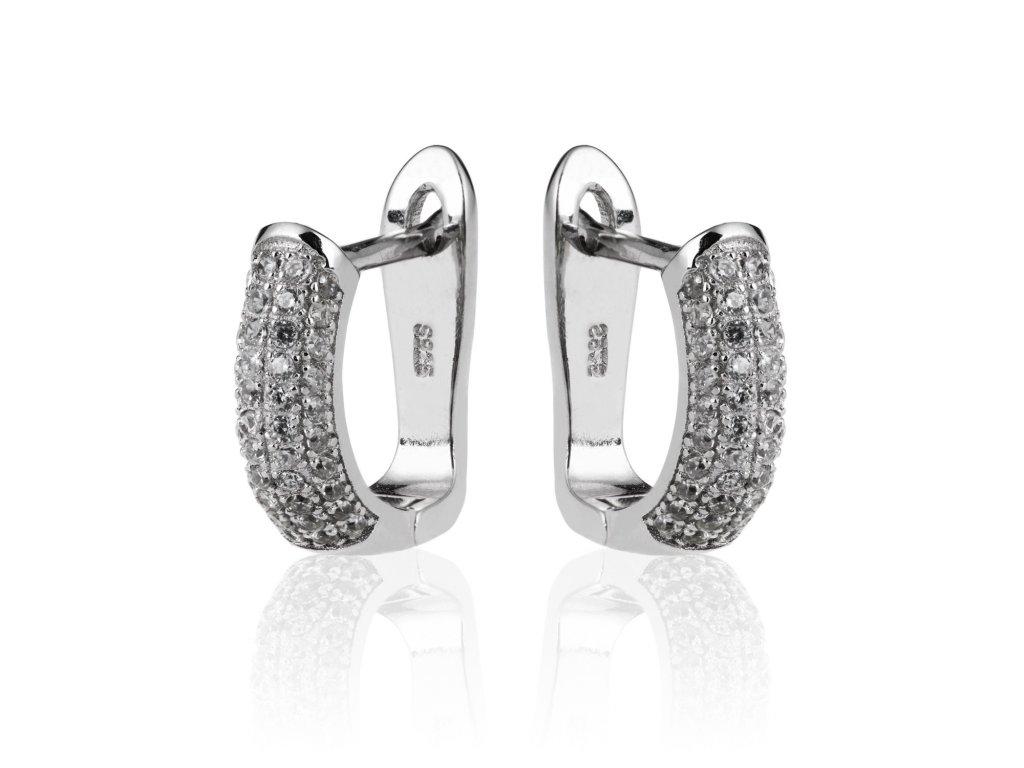 Stříbrné náušnice poseté drobnými zirkonky - Meucci SE074