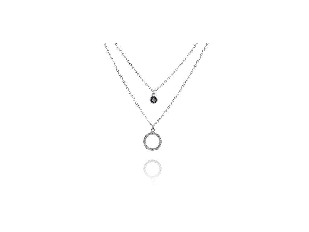 Jemný dvojitý náhrdelník s drobnými safíry a zirkony - Meucci SN038