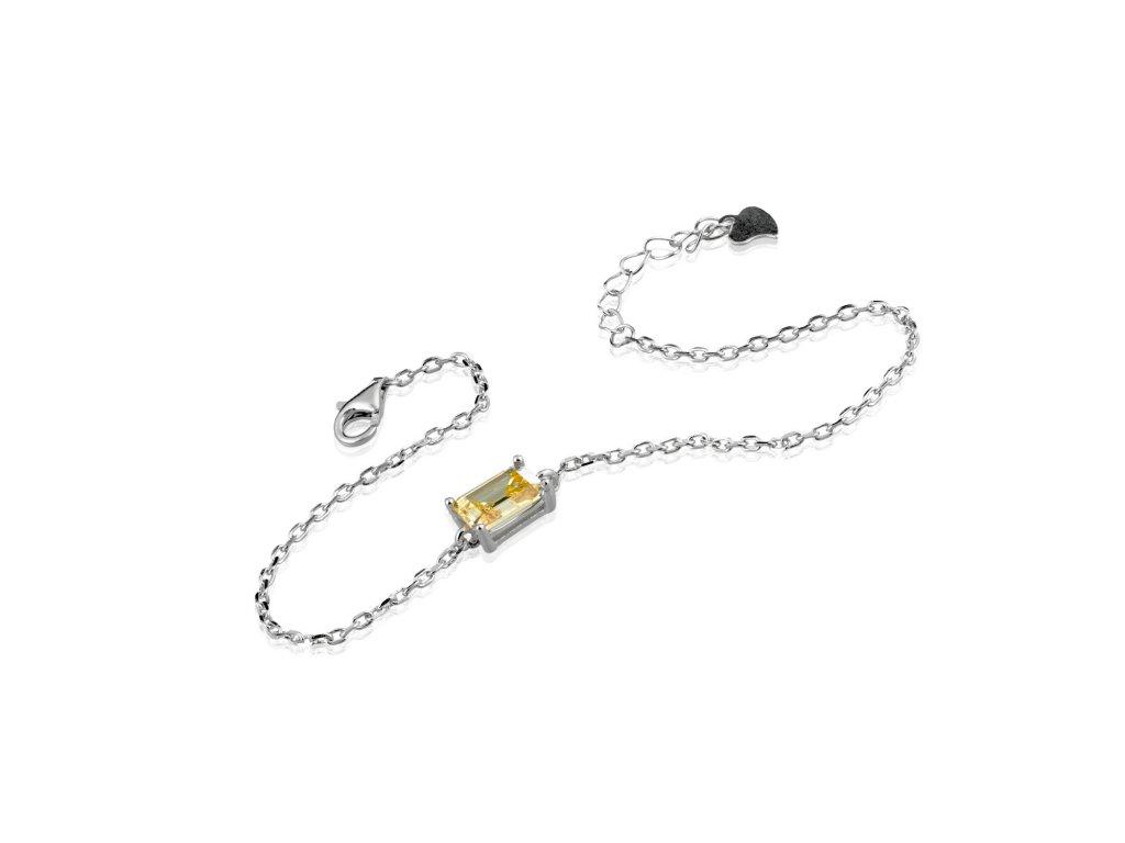 Jemný stříbrný náramek s citrínem - Meucci SB93/09