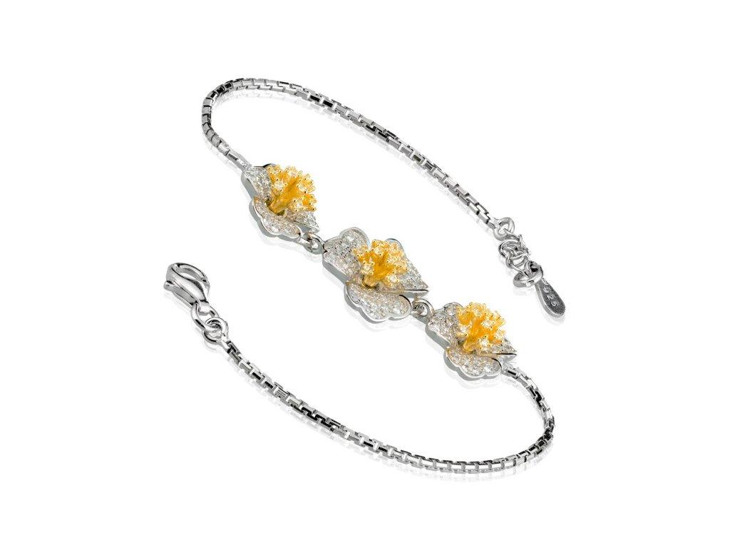Luxusní stříbrný náramek s květinami a zirkony - Meucci SB96