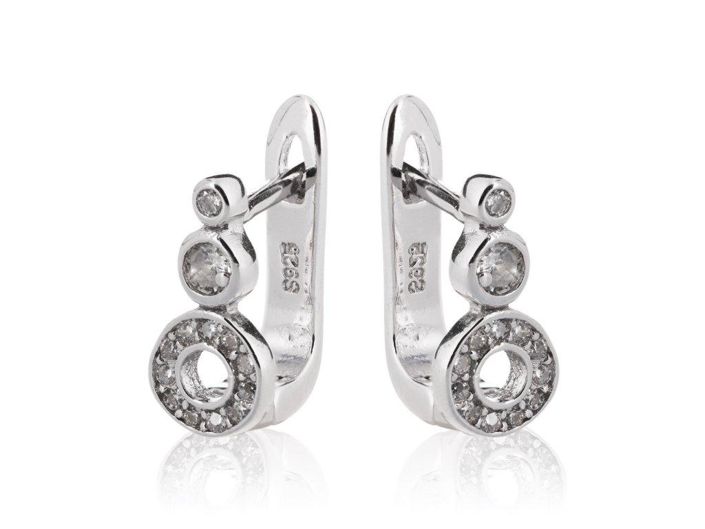 Stříbrné náušnice se zirkony a kolečky - Meucci SE106