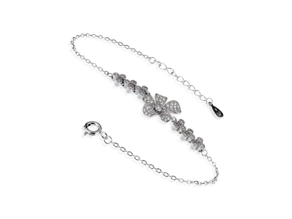 Stříbrný náramek s květem a zirkony - Meucci SB125