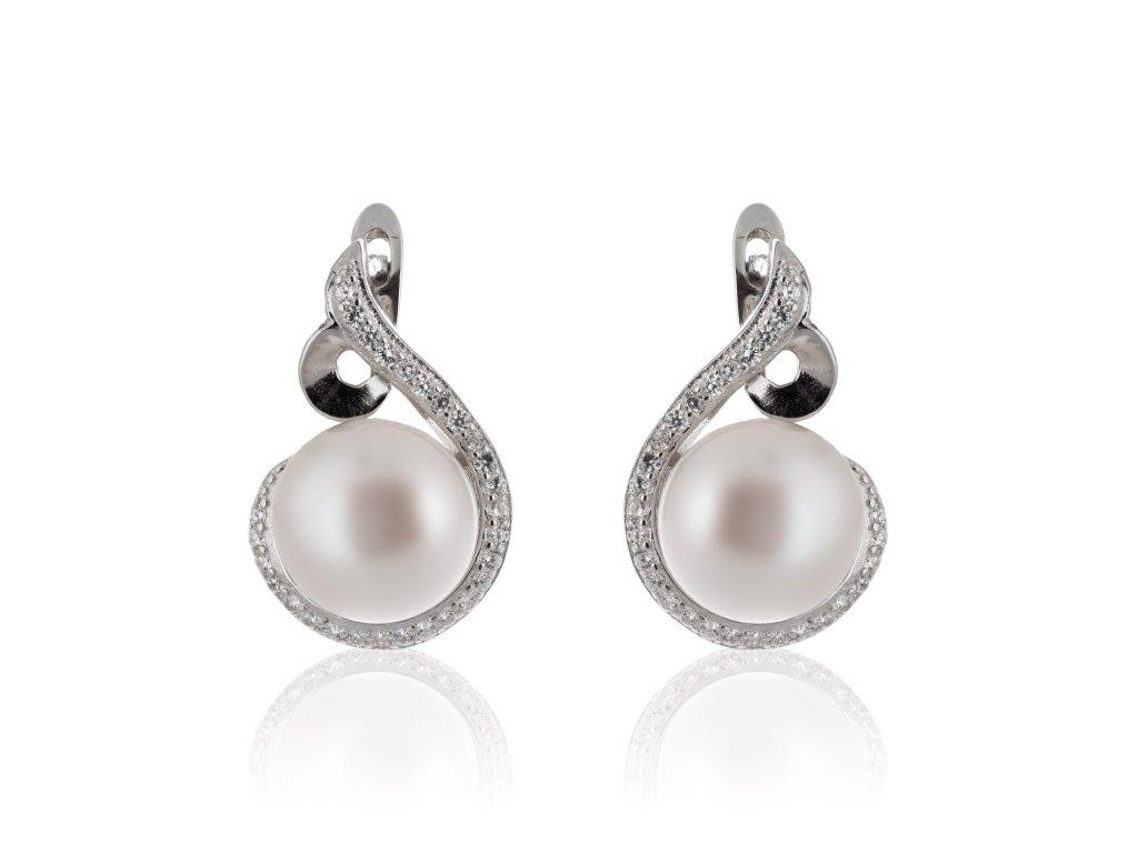 Náušnice ze stříbra zdobené perlou a zirkony - Meucci SP58E