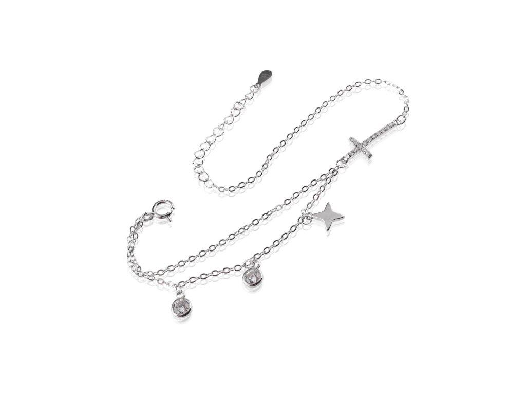 Stříbrný náramek se zirkony, hvězdami a zirkonovým křížkem - Meucci SB145
