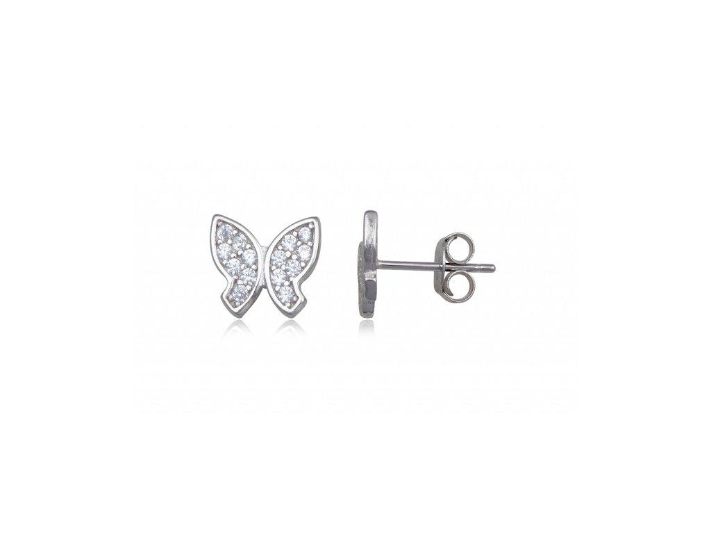 Stříbrné drobné náušnice motýlek - Meucci SE207